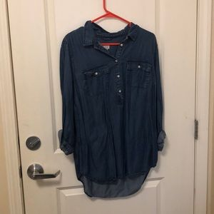 A New Day Half Button Up Demin Shirt
